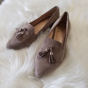 B2G1 Vince Camuto Taupe Suede Tassel Loafers